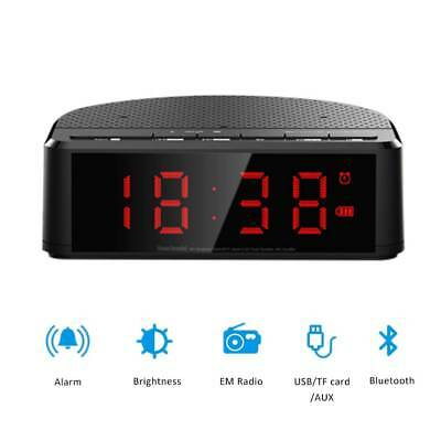 Bluetooth Digital Alarm Clock Speaker FM Radio AUX-in USB Bedside LED Clock