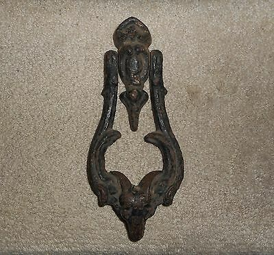 "Antique Cast Iron Rams Head Door Knocker, 9""x 3 7/8"", Architectural Hardware"