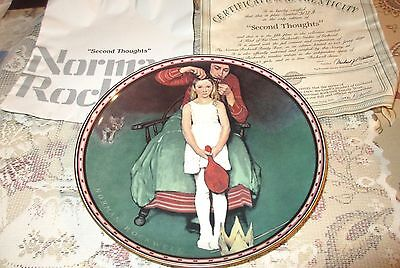 Norman Rockwell SECOND THOUGHTS Plate 5th Issue In A Mind Of Her Own Mint COA