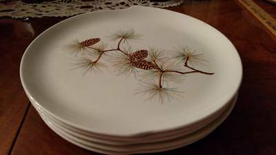 W.S. George Pinecone Dinner Plates lot of Five Mid-Century shape