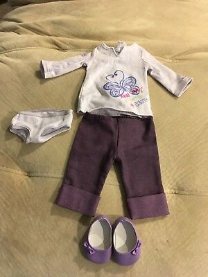 MY AMERICAN GIRL Real Me MEET OUTFIT Purple Capris, Shirt, Shoes, Underwear