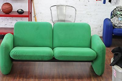 HERMAN MILLER CHICLET LOVESEAT SOFA GREEN mid century modern vintage eames couch