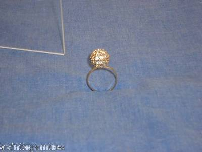 SHINY ROUND RHINESTONE GLITTER BALL On VTG COCKTAIL RING SIZE 7 Costume Jewelry
