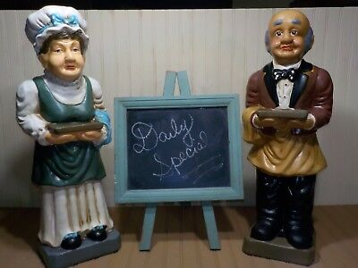 Pair of Vintage About 2' Tall Butler Statue & Waitress Statue Restaurant Decor