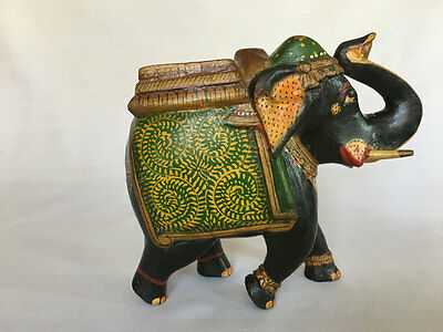 Vintage Look Hand Carved Hand Painted Wooden Fine Elephant Statue