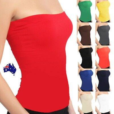 Women Stretch Strapless Boob Tube Top Solid Color Seamless Sleeveless Singlet