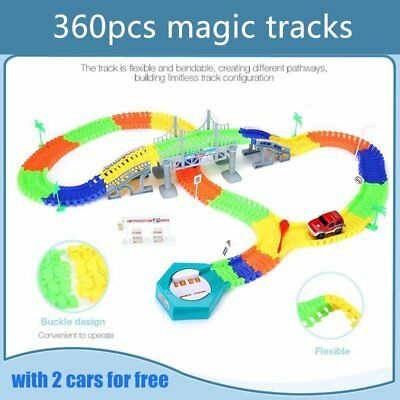Magic Tracks 18 ft 360 Pcs Mega Set With 2 LED Race Cars Glow In The Dark Toy MC
