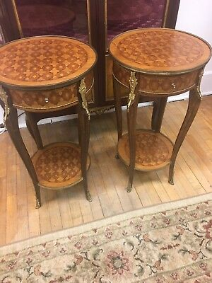 Pair Of Vintage French One Drawer Accent Tables
