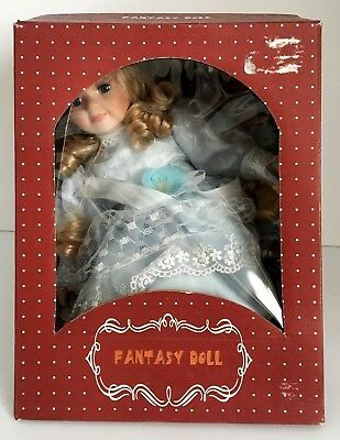 Fantasy Doll Porcelain Hand Crafted/Painted Blonde w/ Blue Eyes NIB-SEE DETAILS