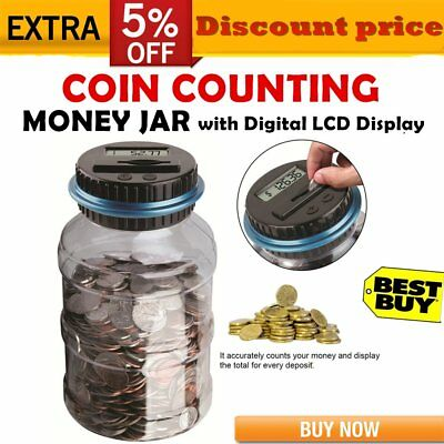 Digital LCD Money Box Bank Large Coin Counting Jar Change Counter Saving Boxes A