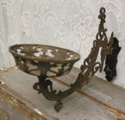 Antique Victorian Cast Iron Swing Arm Oil Kerosene Lamp Wall Bracket Holder