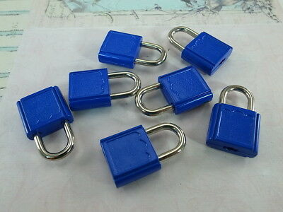 Mini  Padlock Tiny Box Locks With keys- (Lot of 7) - Blue Color - New