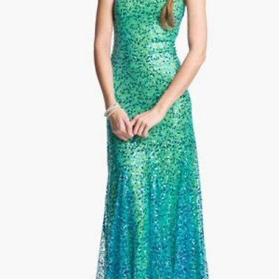 JOVANI PAILLETTE OPEN-BACK Trumpet Gown Mermaid Sequins Dress.Prom ...