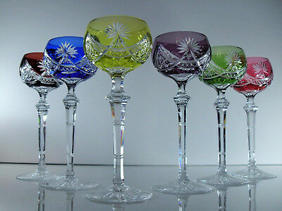 Antique 6 Glasses A Rhine Baccarat Crystal Colours Size Front 1936 Not Signed