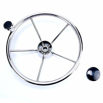 AM--5-spoke 13-1/2 Inch Destroyer Style Stainless Boat Steering Wheel with Knob