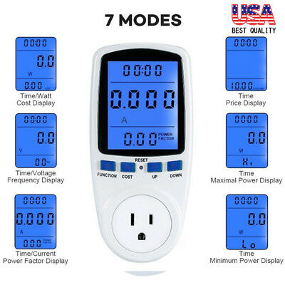 2x Power Consumption Meter Energy Monitor Calculator Usage Plug In Electricity