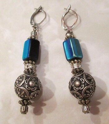 Antique Victorian BLUE GLASS Paste Stones Silver Plated Big ORNATE Ball Earrings