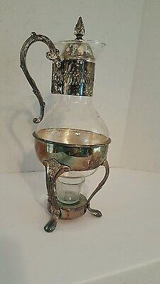 """Vintage Silver Plated Carafe Coffee Tea Pitcher/ Base for Candle.14""""H × 3  1/2."""