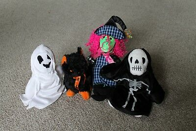 TY BEANIE BABY HALLOWEEN - SCARY the WITCH, FRAIDY CAT, CREEPERS, SHEETS MWMT