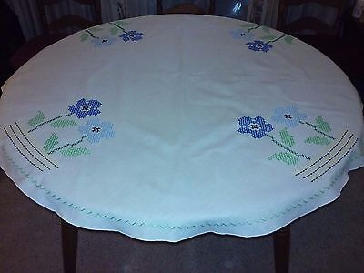 "Vintage 48"" Round Tablecloth, Off White w/Blue & Green Cross Stitch, excellent"