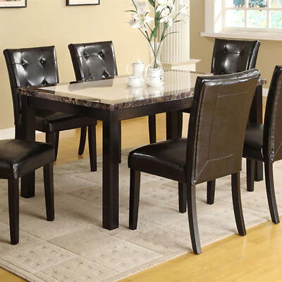 7 Piece Gray White & Black Marble Dining Set
