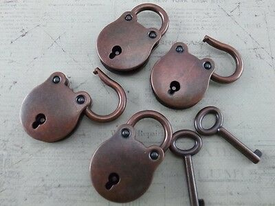 Old Small Antique Style Mini Vintage Padlock with Keys-Antique Copper (4 pcs)New