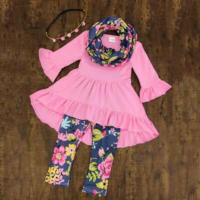 Toddler Baby Girls Flower Top Blouse Pants Leggings Kids Outfits Set Clothes USA