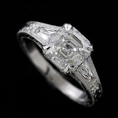 Platinum Art Deco Style Engagement Ring Asscher Cut Hand Engraved Mounting