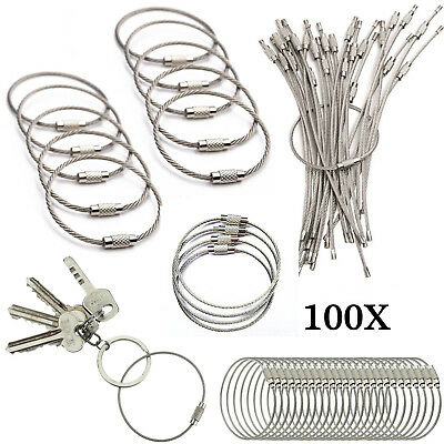 Hang Tags Wire Hanging Cable Ring Key Outdoor 100X Keychain Stainless Loops