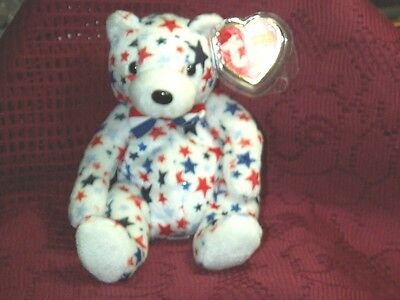 TY beanie baby babies bear White has Red & Blue Stars 4-13-2003 mint & Mint Tags