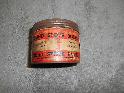 Vtg. Round Stove Bolt Container - Empty By Production Screw & Nut Co. Inc.