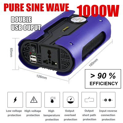 LESHP 1000W 12V to 240V Pure Sine Wave Power Inverter Socket Adapter Dual-USB HP