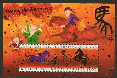 Christmas Island 2002 Year of the Horse Miniature Sheet Mint Unhinged