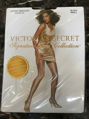 Victorias Secret Signature Gold Collection GLOSSY SMOOTH SHEER TO WAIST BLACK S
