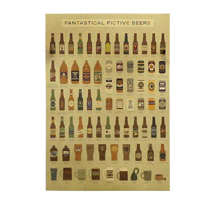 Decorative Painting Playbill Vintage Kraft Paper 8 Pattern Home Cafe Wall Decor