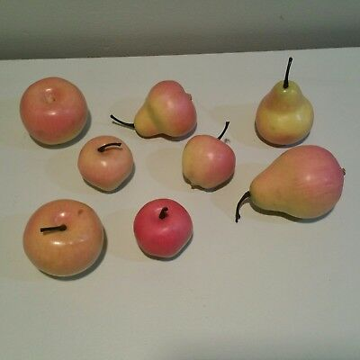 Faux fruit pears apples stems red yellow centerpiece jar decoration coffee table