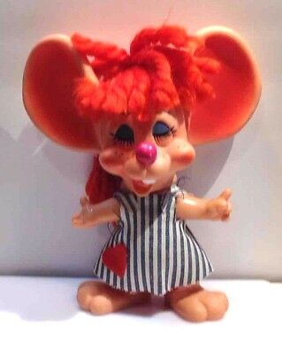 VINTAGE ROY DES OF FLORIDA 1970 Money In the Bank Redhead Girl Mouse Piggy Bank