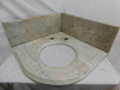 Antique Victorian Marble Vanity Sink & Backsplash - C 1890 Architectural Salvage