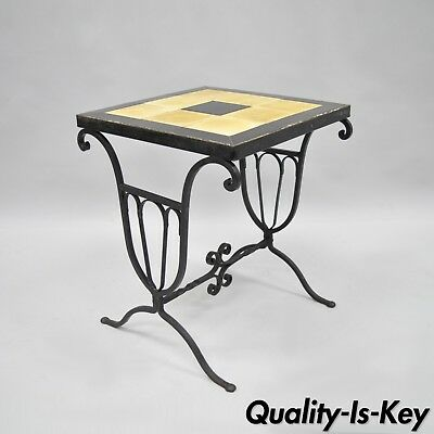 Art Nouveau Wrought Iron Metal Ceramic Tile Top Small Side Table Yellow Black