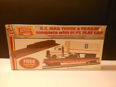 A.H.M. Action Cars HO Scale  Mail Truck and 51' Flat Train Car with Cargo Dock
