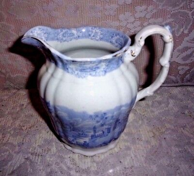 1890's Ridgways ORIENTAL 6 Inch English Blue and White Pitcher - Bee Hive Mark
