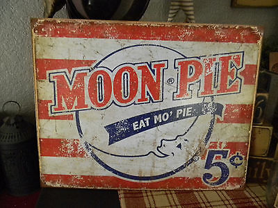 Primitive Vintage Look Shabby Country Tin MOON PIE Humorous Rustic Sign