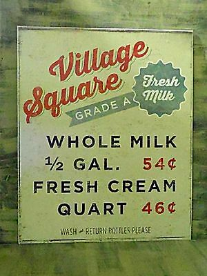 Primitive Vintage Look Shabby Country Tin VILLAGE SQUARE Market Rustic Sign