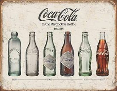 EVOLUTION OF COKE BOTTLE Primitive Vintage Look Shabby Country Tin Rustic Sign