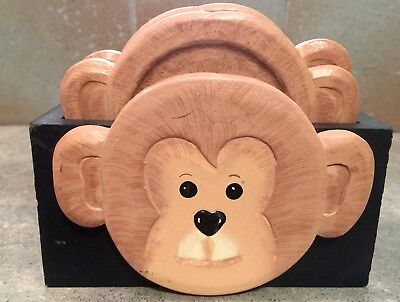 Set of 4 Wooden Monkey drink coasters with holder
