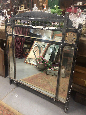 Victorian wall mounted overmantle mirror foxed finish.
