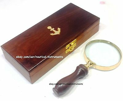 Brass Magnifying Glass Vintage Collectible Wooden Magnifier with Wooden Box Gift