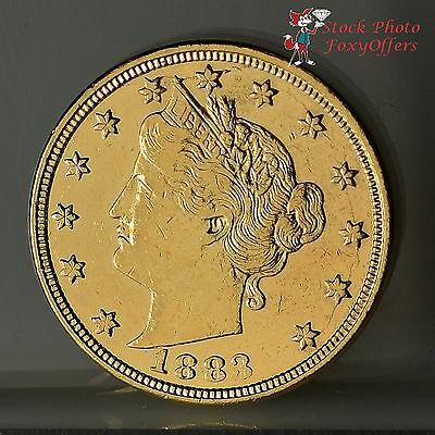 1883 Liberty Nickel - Racketeer No Cents - Gold Plated - AU