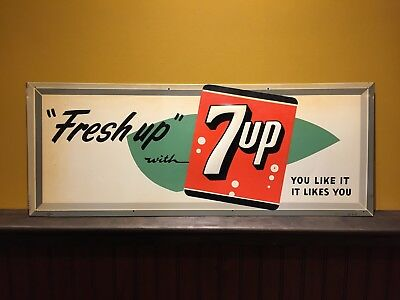 "Original 1957 ""Fresh Up"" 7Up Embossed Tin Sign"