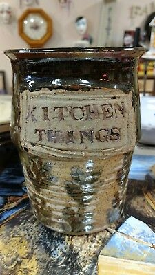 "Vintage STORAGE POT JAR ""KITCHEN THINGS"" POTTERY signed ~Awesome"